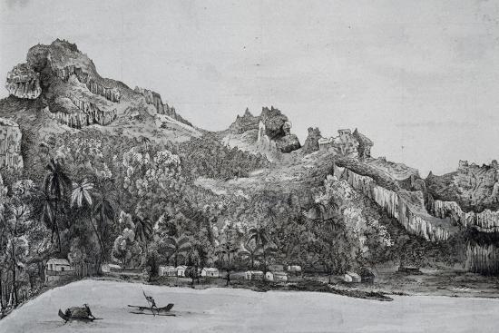 Southern View of Maupiti Island, Society Islands, Engraving from Voyage around World, 1822-1825-Louis Isidore Duperrey-Giclee Print