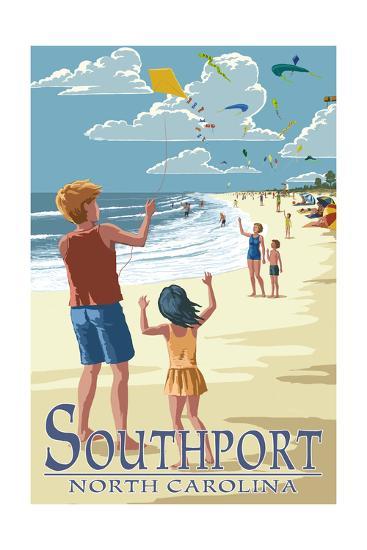 Southport, North Carolina - Kite Flyers-Lantern Press-Art Print