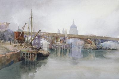 Southwark Bridge in Course of Demolition, 1915-Richard Henry Wright-Giclee Print