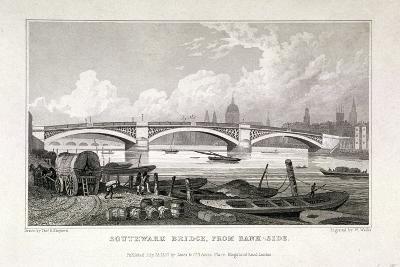 Southwark Bridge, London, 1827-W Wallis-Giclee Print