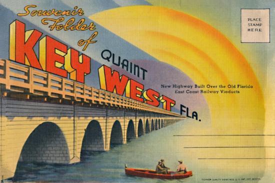 'Souvenir Folder of Quaint Key West Fla. - New Highway', c1940s-Unknown-Giclee Print