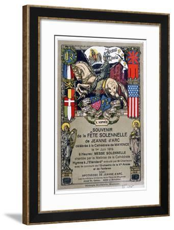 Souvenir of a Festival to Honour Joan of Arc, Staged at Mainz Cathedral, Germany, 1919--Framed Giclee Print