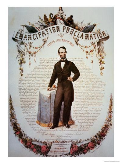 Souvenir Print of the Emancipation Proclamation, Issued 1st January 1863--Giclee Print