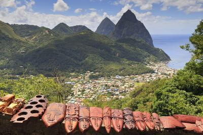Souvenir Stall with View of the Pitons and Soufriere-Eleanor-Photographic Print