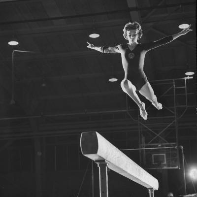 Soviet Gymnast Larisa Latnina in US Soviet Meet at West Chester State Teachers' College-George Silk-Photographic Print