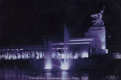 Soviet Pavilion at Night, Exposition Internationale, Paris, 1937--Photographic Print