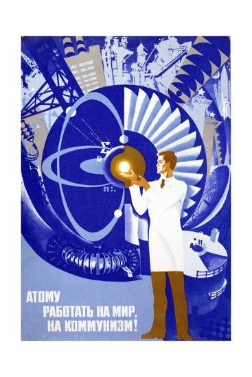soviet poster celebrating atom giclee print by art com