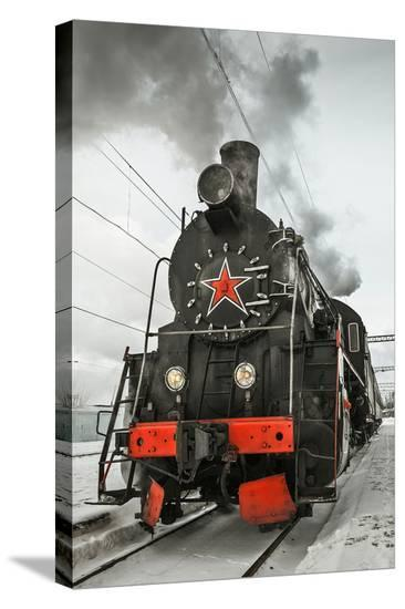 Soviet Steam Locomotive I--Stretched Canvas Print