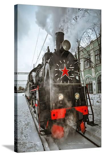 Soviet Steam Locomotive II--Stretched Canvas Print