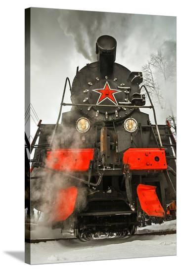 Soviet Steam Locomotive III--Stretched Canvas Print
