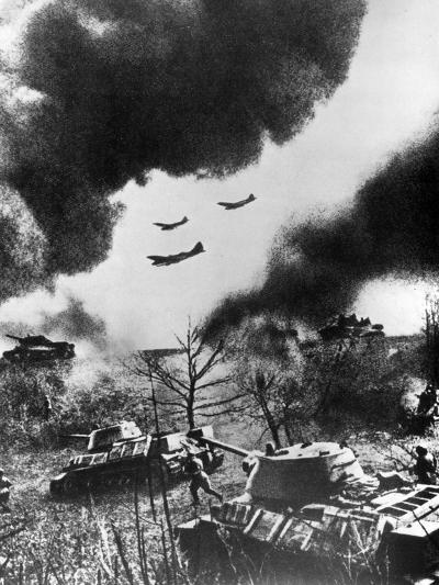 Soviet Tanks and Aircraft Launching an Attack, Russia, 1943--Giclee Print