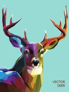Colorful Deer Illustration. Background with Wild Animal. Low Poly Deer with Horns. by Sovusha