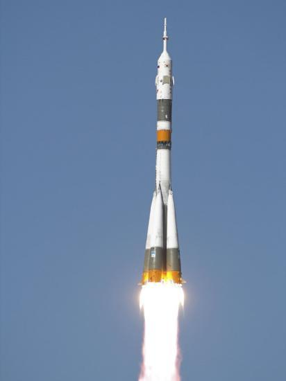 Soyuz TMA-12 Spacecraft Lifts Off into a Cloudless Sky-Stocktrek Images-Photographic Print