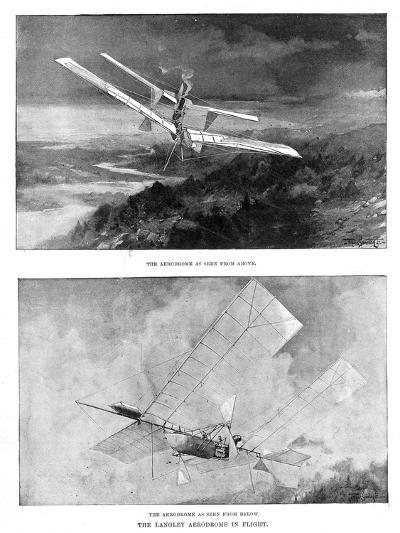 SP Langley's Steam-Powered Model Plane 'Aerodrome' Viewed from Above and Below, 1902--Giclee Print