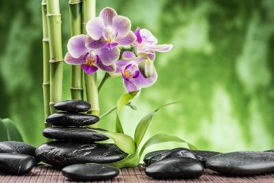 Spa Concept with Zen Basalt Stones ,Orchid and Bamboo-scorpp-Photographic Print