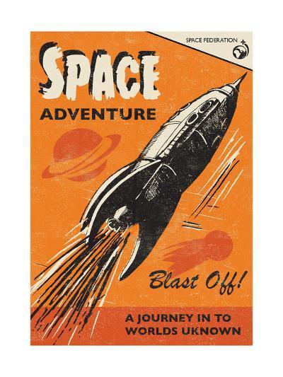 Space Adventure-Rocket 68-Art Print