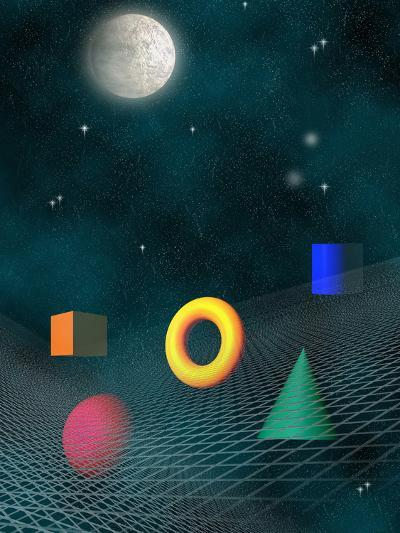 Space Background with Geometric Shapes-Carol & Mike Werner-Photographic Print