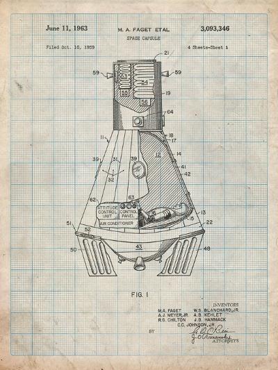 Space Capsule, Space Shuttle Patent-Cole Borders-Art Print