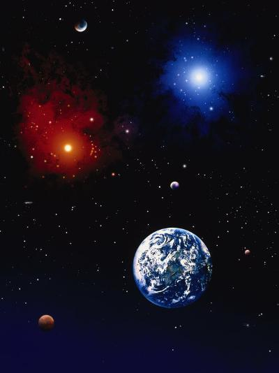 Space Illustration of Earth and Planets-Ron Russell-Photographic Print