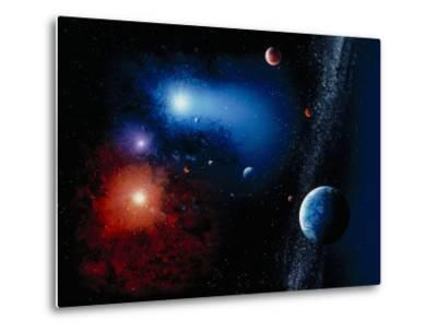 Space Illustration Titled Novae Stella-Ron Russell-Metal Print