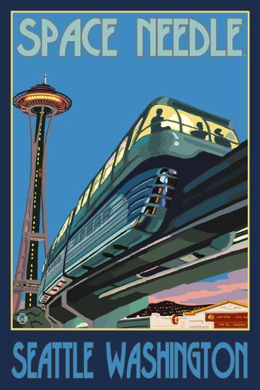 Space Needle and Monorail, Seattle, Washington-Lantern Press-Wall Mural