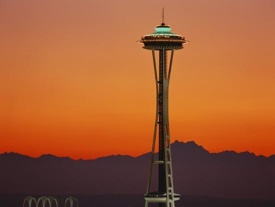 Space Needle and Olympic Mountains at Dusk, Seattle, Washington, USA-David Barnes-Photographic Print