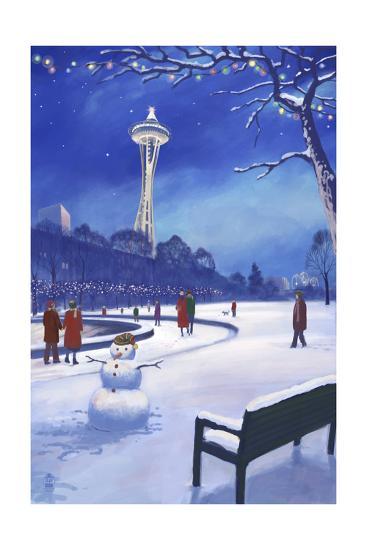 Space Needle in Snow, Seattle, WA-Lantern Press-Art Print