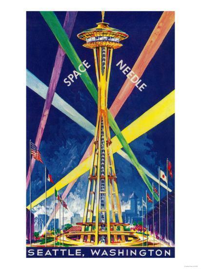 Space Needle Opening Day Poster - Seattle, WA-Lantern Press-Art Print