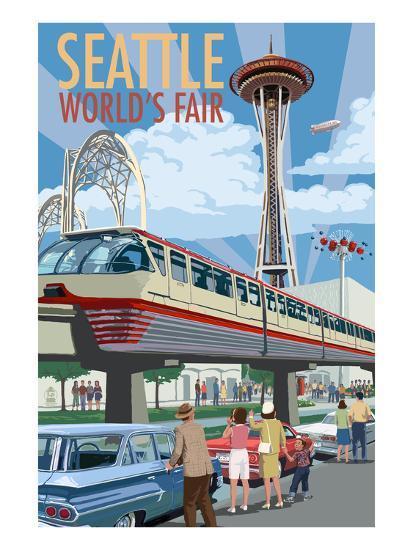Space Needle Opening Day Scene - Seattle, WA-Lantern Press-Art Print