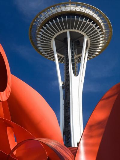 Space Needle with Olympic Iliad Sculpture, Seattle Center, Seattle, Washington, USA-Jamie & Judy Wild-Photographic Print