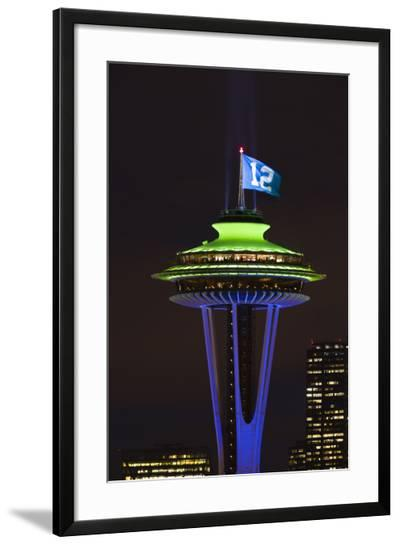 Space Needle with Seahawk colors and 12th man flag. Washington, USA-Jamie & Judy Wild-Framed Photographic Print