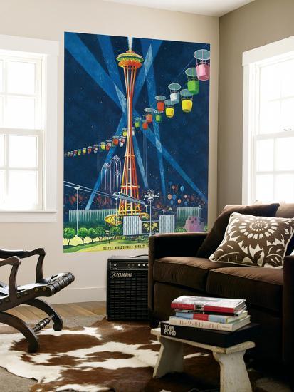 Space Needle Worlds Fair Poster - Seattle, WA-Lantern Press-Wall Mural