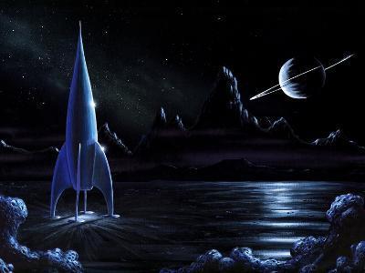 Space Rocket And Ringed Planet, Artwork-Richard Bizley-Photographic Print