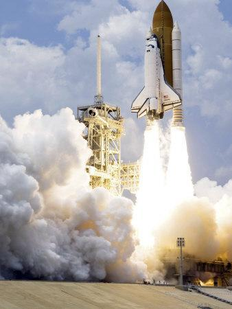 Space Shuttle Atlantis Lifts Off from its Launch Pad--Photographic Print
