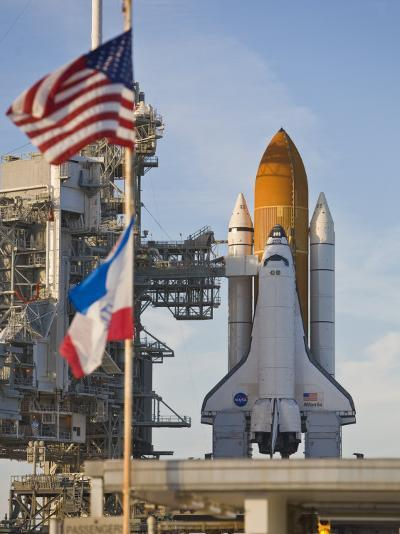 Space Shuttle Atlantis Sitting on Launch Pad 39B Awaiting Lift Off-Mike Theiss-Photographic Print