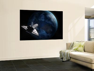 Space Shuttle Backdropped Against Earth--Wall Mural