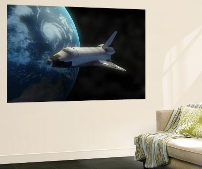 Space Shuttle Backdropped Against Earth--Giant Art Print