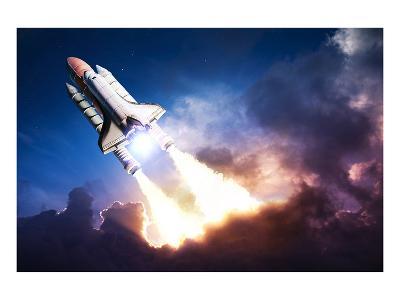Space Shuttle & Clouds At Dusk--Art Print