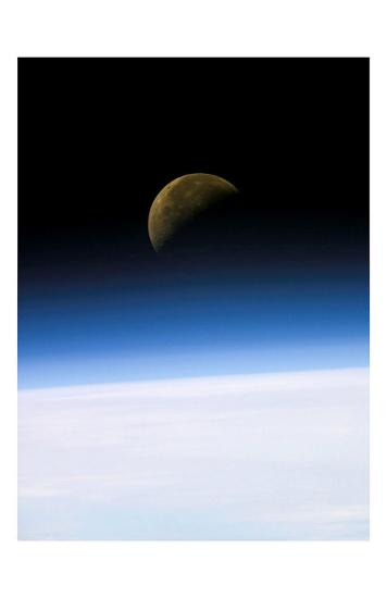 Space Shuttle View of Earth and Moon--Art Print