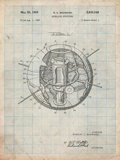 Space Station Satellite Patent-Cole Borders-Art Print