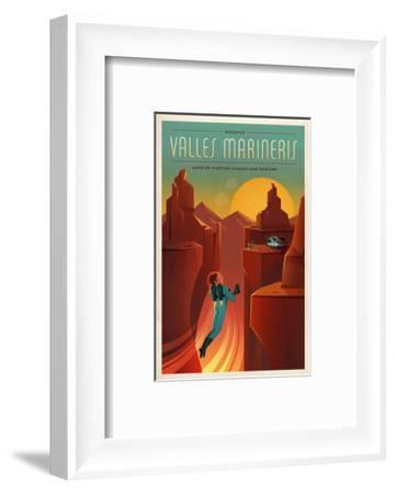 Space X Mars Tourism Poster for Valles Marineris-Vintage Reproduction-Framed Art Print