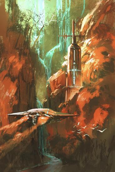 Spaceship on Background of Lighthouse and Red Canyon,Illustration Painting-Tithi Luadthong-Art Print