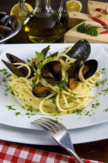 Spaghetti with Mussels (Mytilus Galloprovincialis), Cuisine-Nico Tondini-Photographic Print