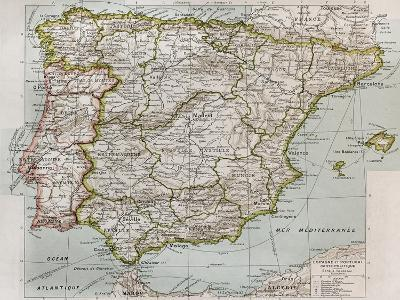 Spain And Portugal Political Map-marzolino-Art Print