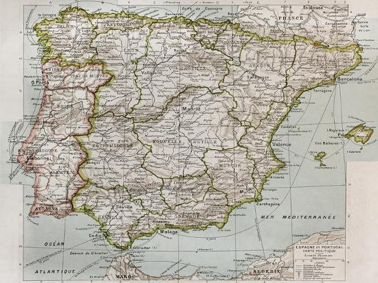 Spain And Portugal Political Map Art Print By Marzolino Art Com