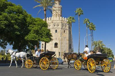 Spain, Andalusia, Seville, Arabian Tower, Torre Del Oro, Horse-Drawn Carriages-Chris Seba-Photographic Print