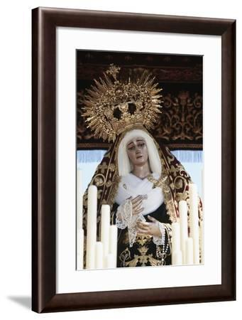 Spain, Andalusia, Seville, Holy Week, Procession, Detail of Baldachin with the Statue of Madonna--Framed Giclee Print