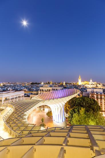 Spain, Andalusia, Seville. Metropol Parasol Structure and City at Dusk-Matteo Colombo-Photographic Print