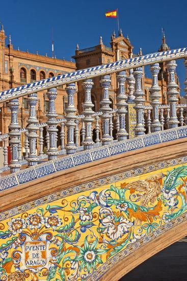 Spain, Andalusia, Seville, Plaza De Espana, Bridge, Puente De Castilla, Close-Up-Chris Seba-Photographic Print