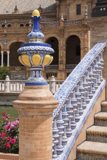 Spain, Andalusia, Seville. Plaza de Espana, ornate bridge.-Brenda Tharp-Premium Photographic Print